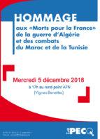 Hommage aux «Morts pour la France» de la guerre d'Algérie et des combats du Maroc et de Tunisie