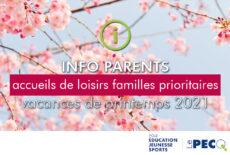 INFO accueils de loisirs vacances de printemps