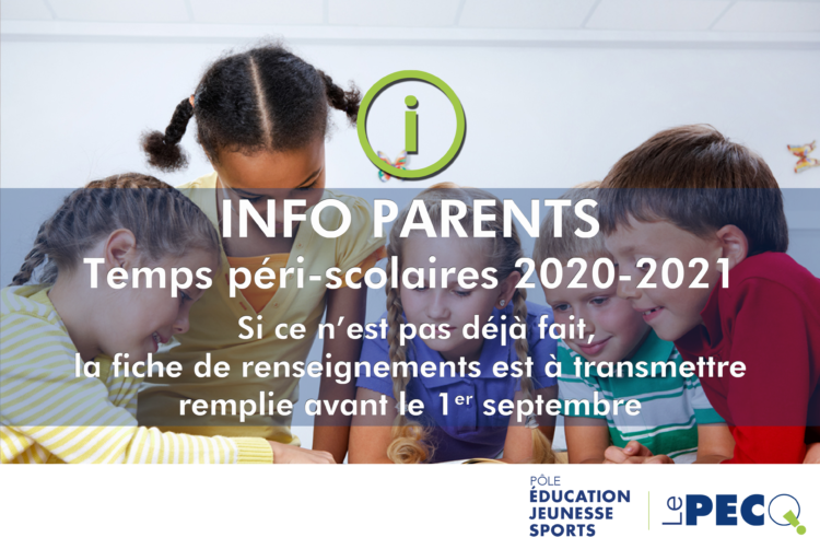Info parents : inscriptions péri-scolaires 2020-2021