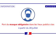 Le port du masque est obligatoire dans les lieux publics clos depuis le 20 juillet