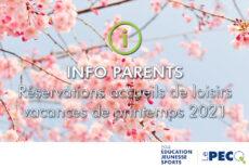 Vacances de printemps : réservez les vacances avant le 26 mars