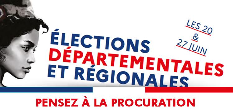 Élections des 20 et 27 juin 2021 : pensez à la procuration